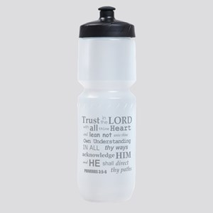 Proverbs 3:5-6 KJV Dark Gray Print Sports Bottle