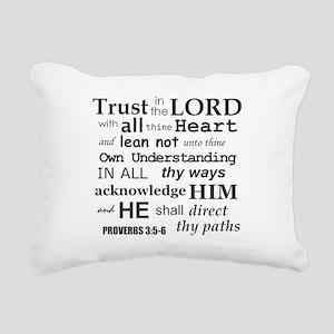 Proverbs 3:5-6 KJV Dark Rectangular Canvas Pillow