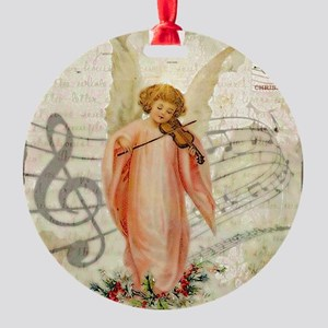 Vintage Christmas Angel Round Ornament