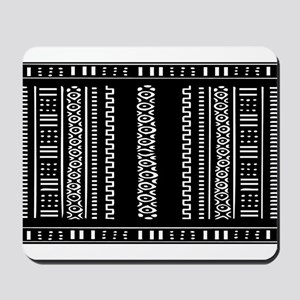 Black and White Mudcloth Design Mousepad