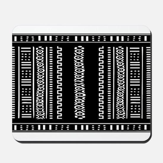 Black and White Mudcloth Design Mousepad