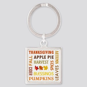 FALL WORDS Square Keychain