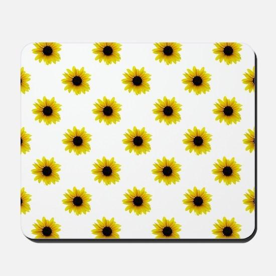 Pretty Yellow Sunflower Pattern Mousepad