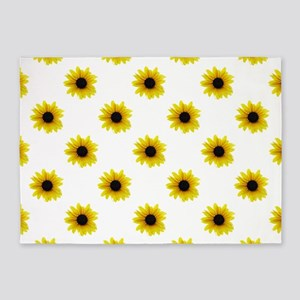 Pretty Yellow Sunflower Pattern 5'x7'Area Rug