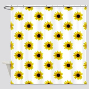 Pretty Yellow Sunflower Pattern Shower Curtain