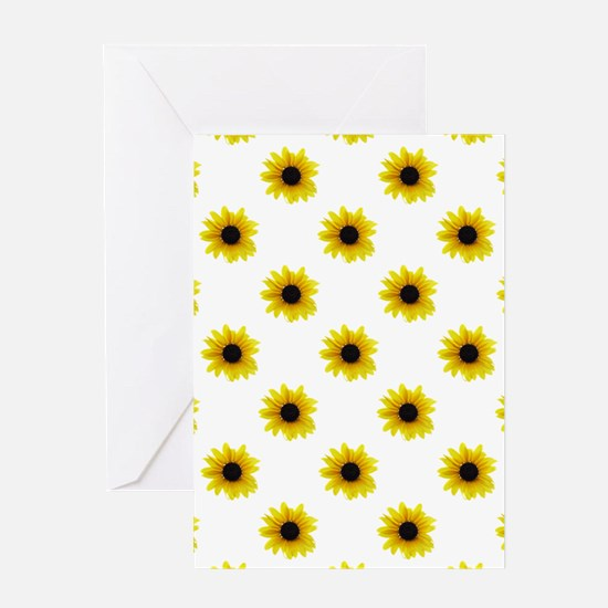 Pretty Yellow Sunflower Pattern Greeting Cards