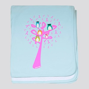 Aviator Owls in a Pink Ribbon Tree baby blanket