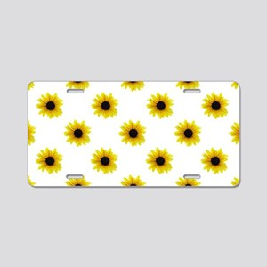 Pretty Yellow Sunflower Pat Aluminum License Plate