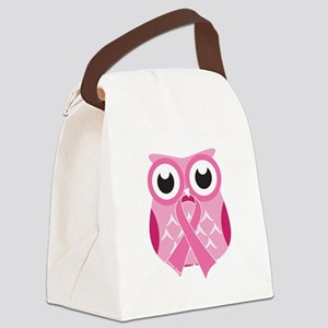 Pink Owl with Pink Ribbon Canvas Lunch Bag