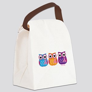 3 Ribboned Owls Canvas Lunch Bag