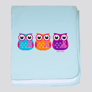 3 Ribboned Owls baby blanket
