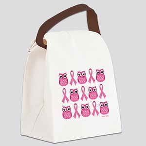 Patterned Pink Ribbon Owls Canvas Lunch Bag