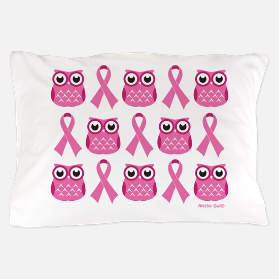 Patterned Pink Ribbon Owls Pillow Case
