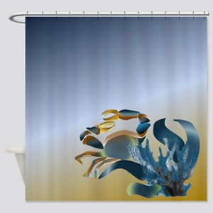 Blue and Gold Crab Shower Curtain