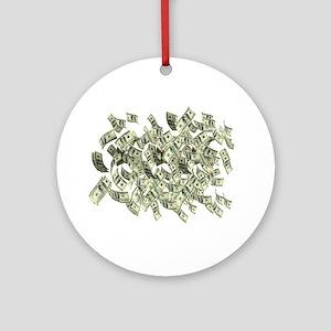 Raining BIG MONEY Round Ornament