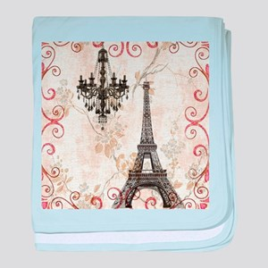 shabby chic swirls eiffel tower paris baby blanket