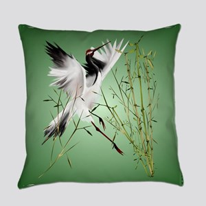 One Crane In Bamboo Everyday Pillow