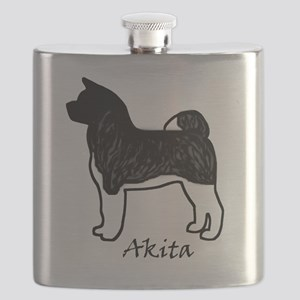Silver Brindle Black Mask Akita Flask