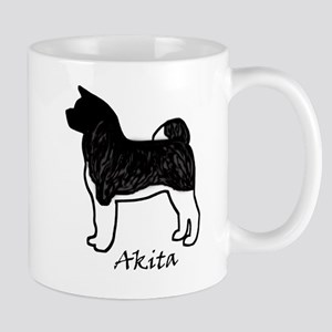 Silver Brindle Black Mask Akita Mugs