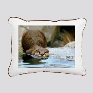River Otter (gone Fishin Rectangular Canvas Pillow