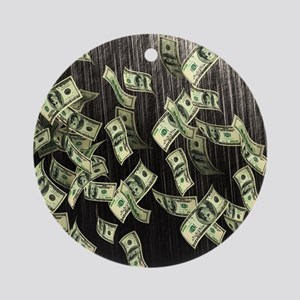 Raining Cash Money Round Ornament