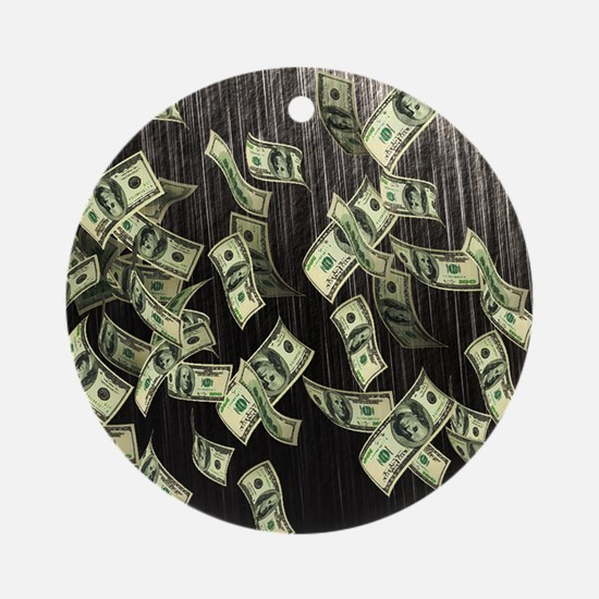 Raining Cash Money Round Ornament