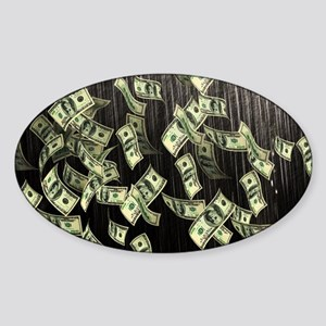 Raining Cash Money Sticker (Oval)