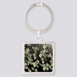Raining Cash Money Square Keychain