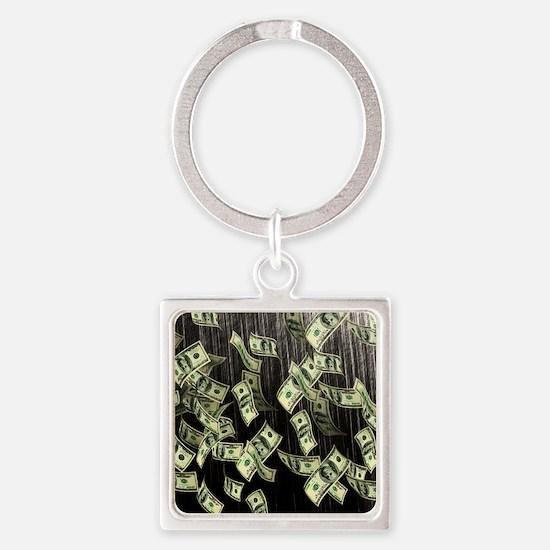 Raining Cash Money Square Keychain