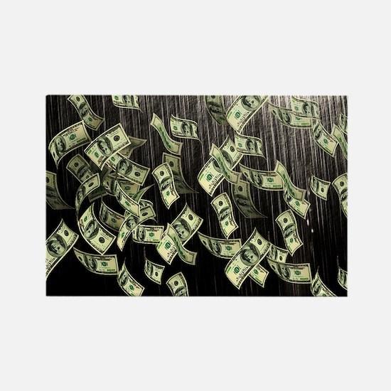 Raining Cash Money Rectangle Magnet