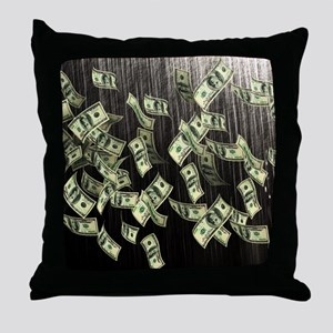 Raining Cash Money Throw Pillow