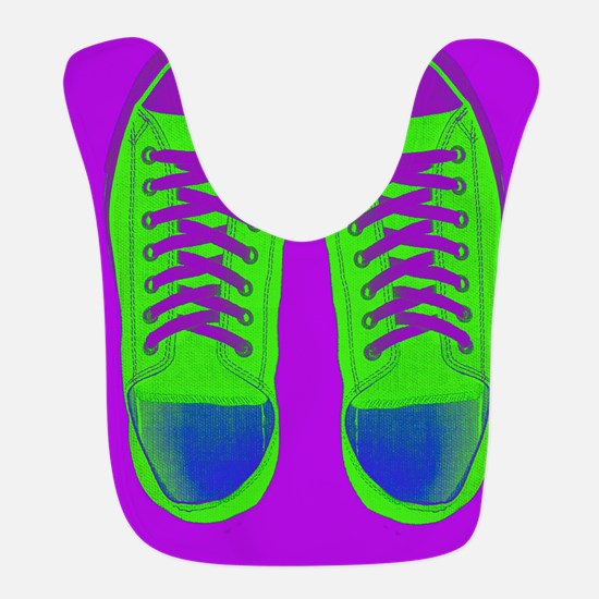 Purple Green Sneaker Shoes Bib