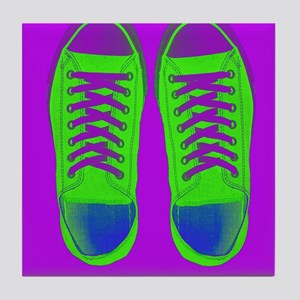 Purple Green Sneaker Shoes Tile Coaster