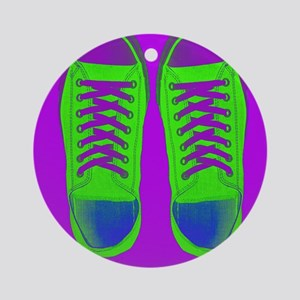 Purple Green Sneaker Shoes Round Ornament