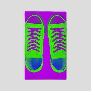 Purple Green Sneaker Shoes Area Rug