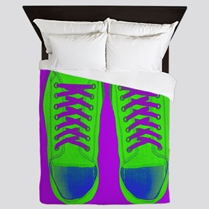 Purple Green Sneaker Shoes Queen Duvet