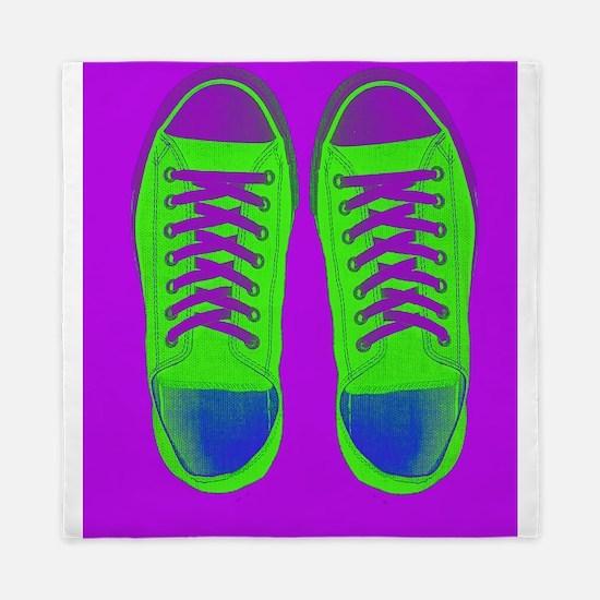Purple Green Sneaker Shoes Queen Duvet