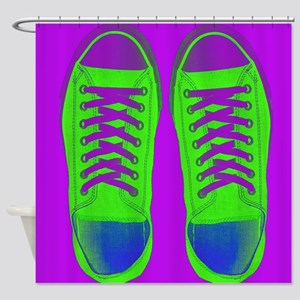 Purple Green Sneaker Shoes Shower Curtain