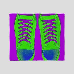 Purple Green Sneaker Shoes Throw Blanket