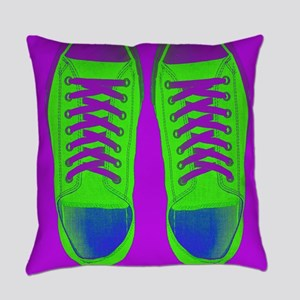 Purple Green Sneaker Shoes Everyday Pillow