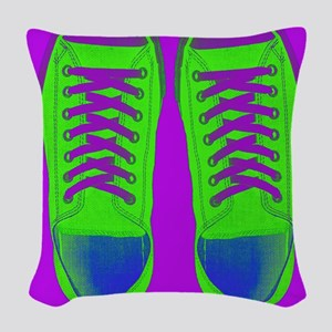 Purple Green Sneaker Shoes Woven Throw Pillow