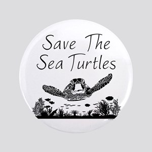 Save The Sea Turtles Button