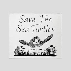 Save The Sea Turtles Throw Blanket