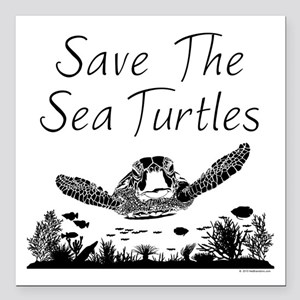 """Save The Sea Turtles Square Car Magnet 3"""" x 3"""""""