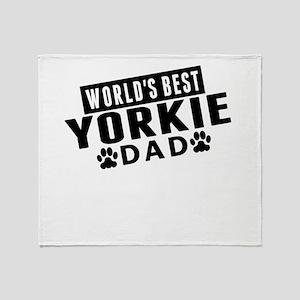 Worlds Best Yorkie Dad Throw Blanket