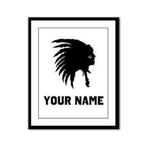 Native American Silhouette Framed Panel Print
