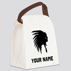 Native American Silhouette Canvas Lunch Bag