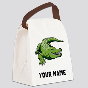 Green Alligator Canvas Lunch Bag