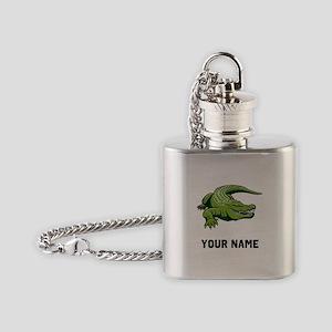 Green Alligator Flask Necklace