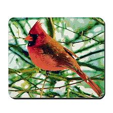 Cardinal Gouache Photo Art Mousepad
